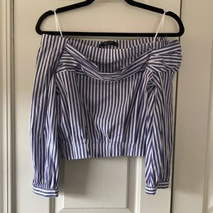 Zara Basic Off Shoulder Crop Top Stripped XS